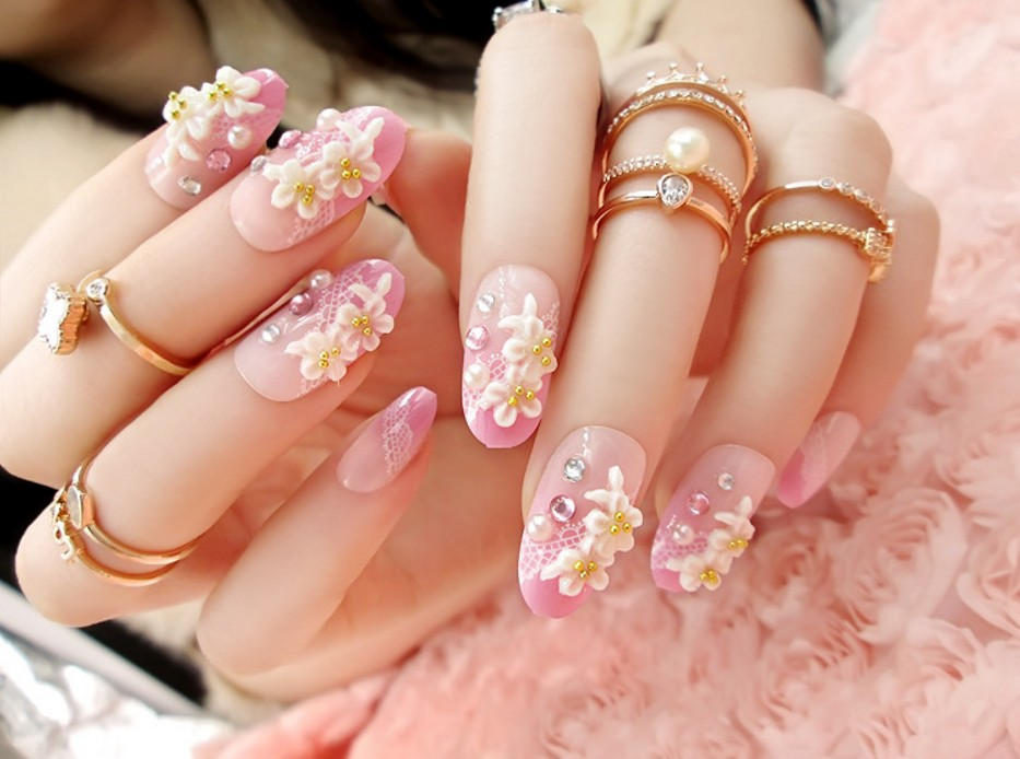 24pcsset Beauty Pre Design Nail Tips Acrylic Nails Full French