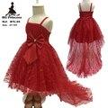 Hg princesa algodão lining 2 t-10 t vestido formal vermelho da menina 2016 nova Rendas chegada vestido de festa menina com Arco Criança pageant Vestido BTL05