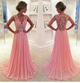 vestido de noiva  2017 Long Prom Dresses Sleeveless Sexy V-neck Chiffon Lace Pink Party Evening Gowns For Women Formal Dresses