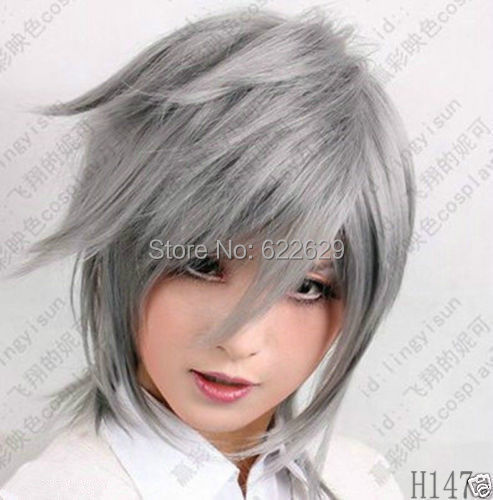 Short BOB hot Final Fantasy Type-0 seven silver grey Cosplay Costume Wig  Kanekalon Fiber no lace Hair wigs Free shipping 9d82f0a1e
