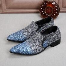 Mens dress shoes elegant men formal shoes glitter loafers pointed toe zapatos hombre vestir pluse size oxford shoes for men