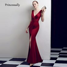 fb1fc2347b04 New Simple Mermaid Evening Dress Gown Elegant Sey V neck Pleated Waist High  Slit Cheap Banquet