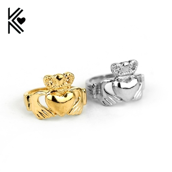 Claddagh Rings Gold/Silver Plated The Ireland Claddagh Ring Top High Quality Friendship Loyalty Symbol Women Wedding Rings