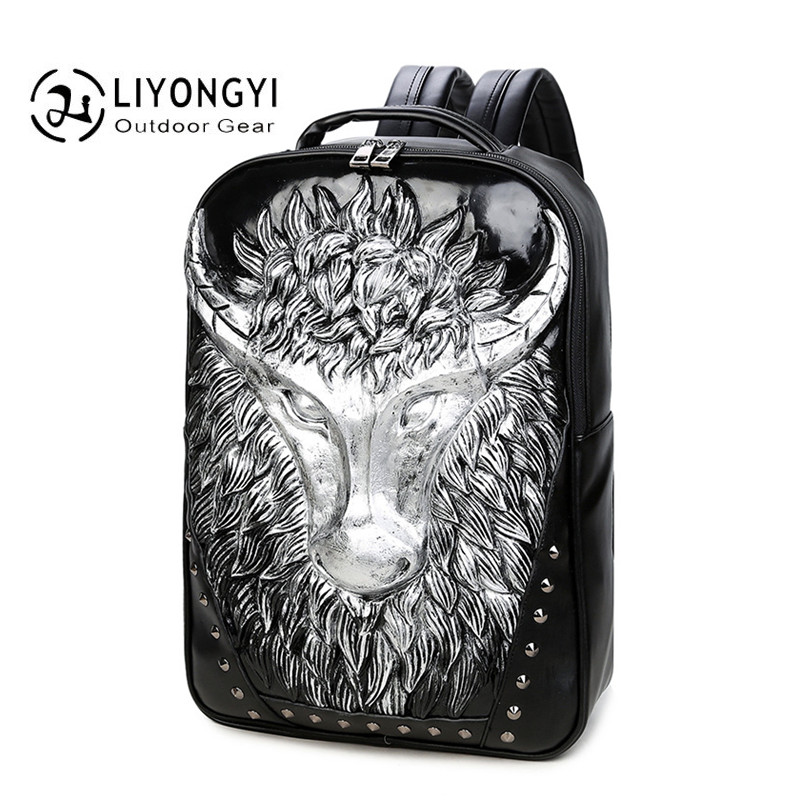 Fashion Backpack Men and Women Backpacks 3D Oxhead Printing PU Leather Laptop Luggage& Men's Travel Bags Male Large Capacity Bag baijiawei men and women laptop backpack mochila masculina 15 inch backpacks luggage