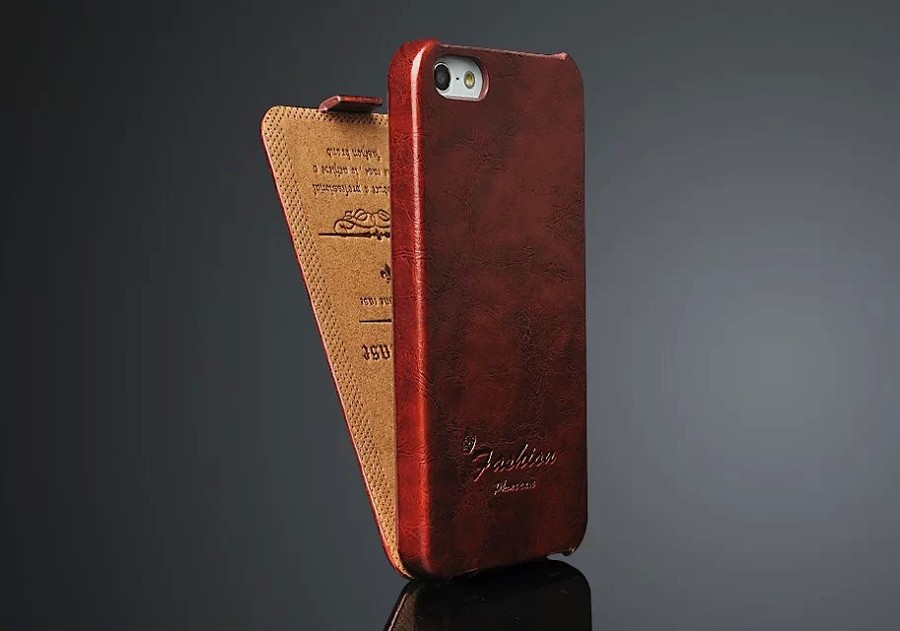 Oil-wax Genuine Leather Vertical Flip Cover Case For Apple IPhone 5 5S SE (4.0