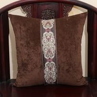 Decorative Patchwork Lace Sofa Chair Pillow Cushion High End Velvet Fabric Bed Lumbar Cushion Backrest 18 inch 20 inch 24 inch