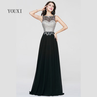Sexy Sheer Neck Floor Length Long Prom Dresses 2017 Black Chiffon Beaded Crystal Formal Evening Gowns PD73
