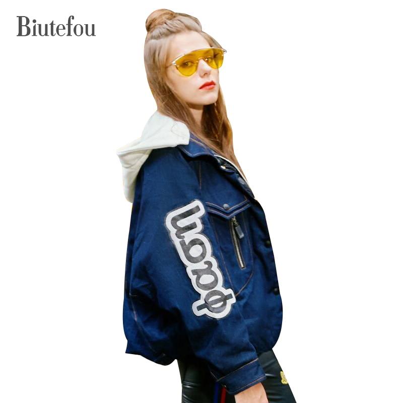 2018 Biutefou winter denim spliced hooded   down     coats   women fashion letter print light loose   down     coats