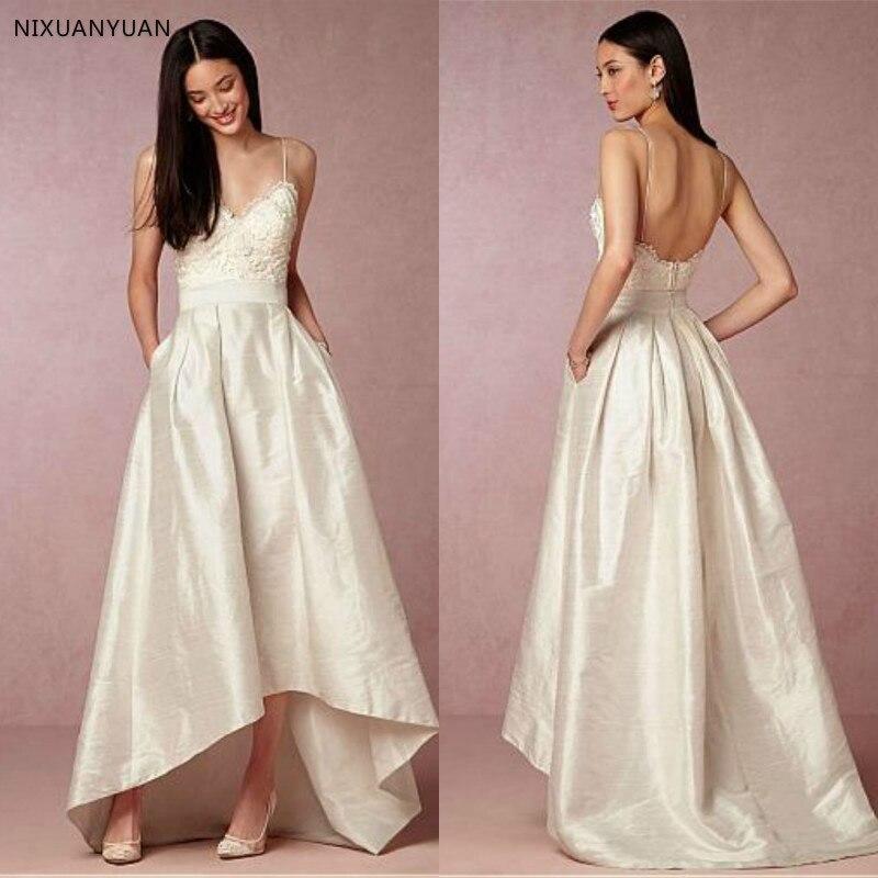 Simple Beach Taffeta Spaghetti Straps Wedding Dresses Sexy Backless High Low Bridal Dresses With Pockets 2019 Boho Dress
