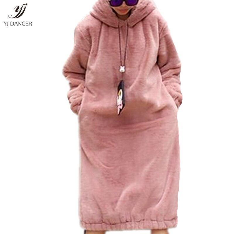 Inverno Imitação Coelho Casaco De Pele Feminino 2018 Moda de Nova Plush Super Longa Com Capuz da Camisola Saia Longa Com Capuz Solto Grosso HJB344