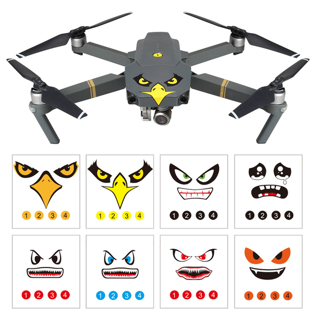 8pcs Sticker Drone Decal for DJI Mavic Pro Accessories for DJI Spark Art Eagle Smile Shark Sticker Decal Eyes Skin