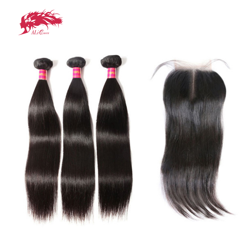 Ali Queen Virgin Brazilian Straight Hair 3 Bundles With Closure Natural Color Middle Part Pre Plucked