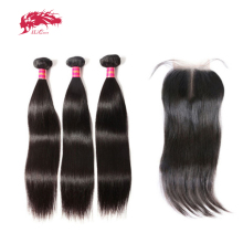 Ali queen Virgin бразильские прямые волосы 3 пучка с закрытием натуральный цвет средняя часть предварительно сорванные человеческие волосы Кружева Закрытие