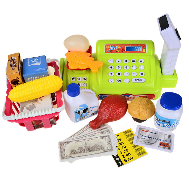 Bohs niños juguetes educativos supermercado caja registradora niño niña traje de cajero toys