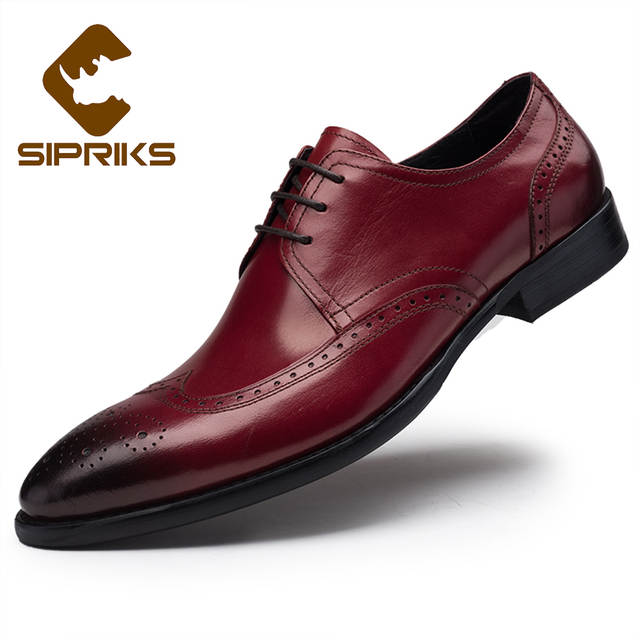 special discount customers first provide large selection of Sipriks Luxury Burgundy Formal Male Shoes Elegant Black Leather Brogue  Shoes European Mens Wingtip Dress Shoes Pointed Toe 2017