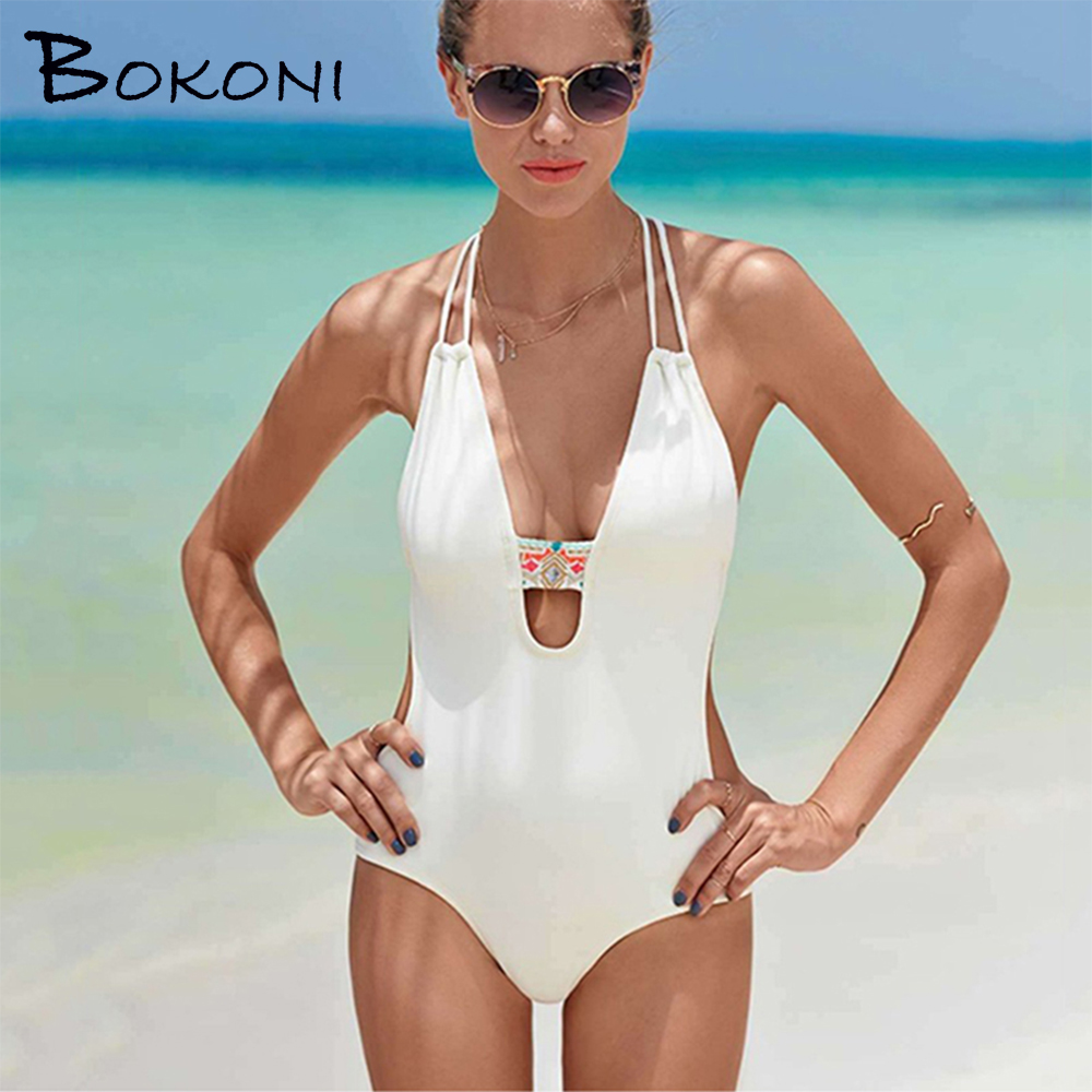 2017 Monokini One Piece Swimsuit Retro Swimwear Bodysuit Thong Bathing Suit Women Beach Wear female Biquini Surfing Swimsuits 2017 new sexy bodysuit one piece swimsuit solid swimwear female bathing suit backless monokini beach wear thongs cover up