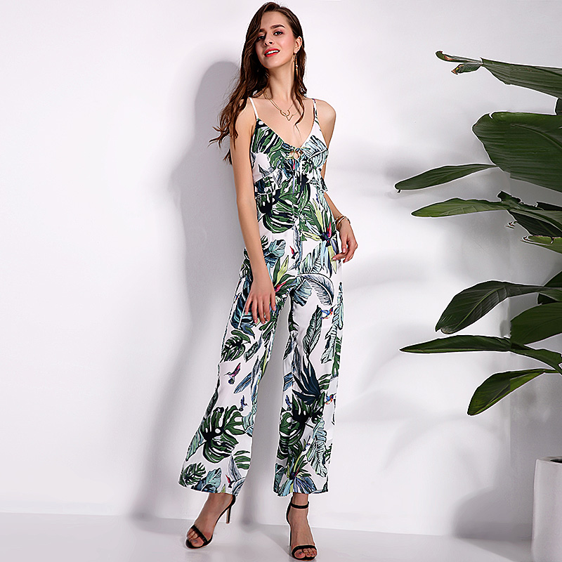 2018 Fashion Summer Rompers Womens Jumpsuits Sexy Sleeveless Deep V Neck Hollow Out Elegant Ruffles Playsuits Overalls