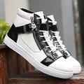 2016 Nuevos de Alta Superior Zapatos de Moda Casual Para Hombres Otoño Transpirable Suela de Goma con Cordones Zapatos de Colores Mezclados pisos Al Por Mayor