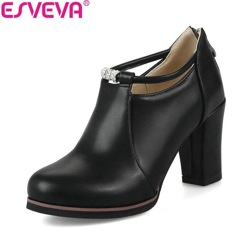 ESVEVA 2018 Women Pumps PU Leather Round Toe Fashion Pumps British Style Square High Heel Spring Autumn Ladies Shoes Size 34-43 verne le sphinx des glaces