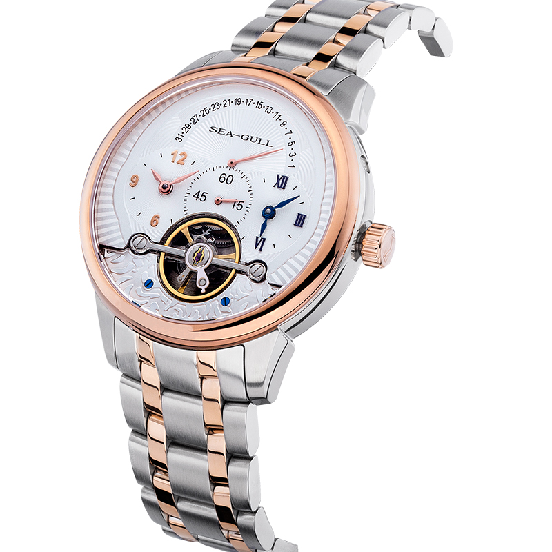Seagull สูง Complication Dual Time Zone GMT Flywheel ถอยหลังวันที่มงกุฎหัวหอม Gold Tone นาฬิกาผู้ชายอัตโนมัติ 217.411-ใน นาฬิกาข้อมือกลไก จาก นาฬิกาข้อมือ บน   3