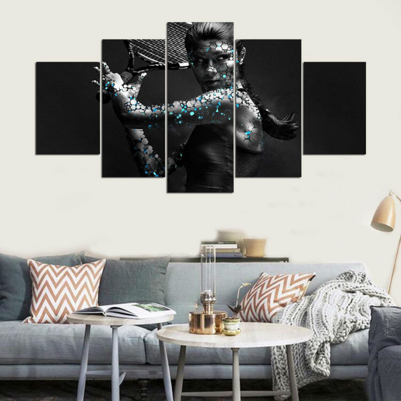Abstract Canvas Painting Art Poster Style 5 Panel Tennis Sport Wall Pictures For Living Room Cuadros Modern Decor Paintings TYG