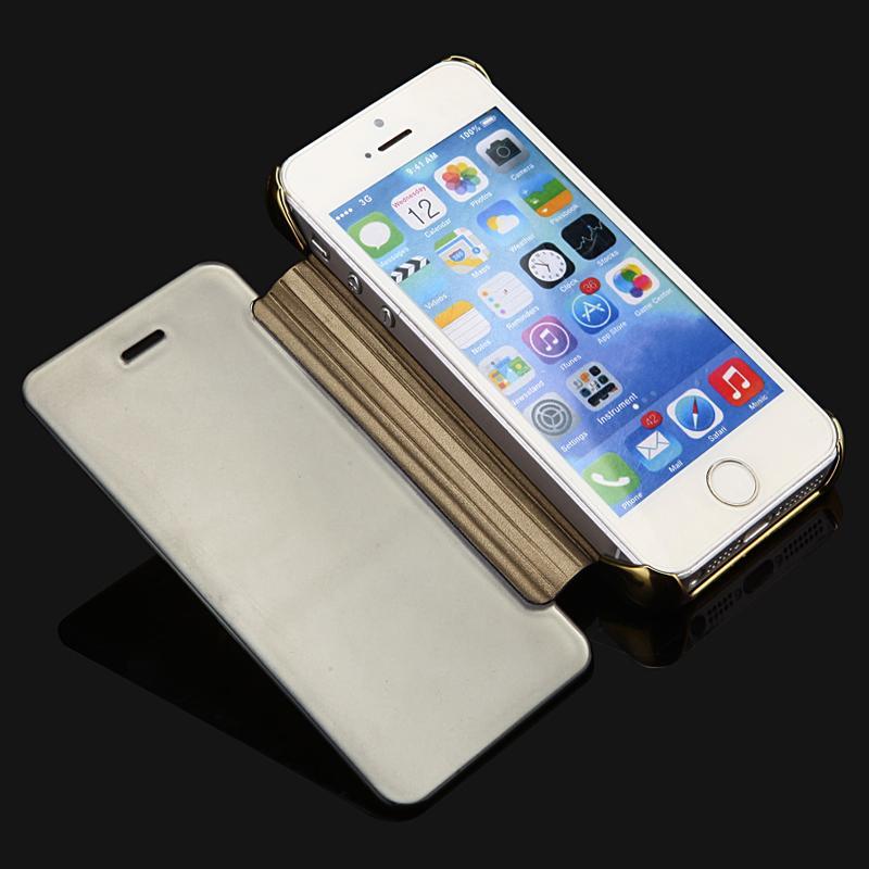2015 lyxigt klart spegelfodral för iPhone 5 5S 5G Flip Smart Phone - Reservdelar och tillbehör för mobiltelefoner - Foto 5