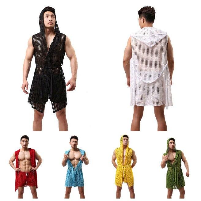 Men's Pajamas Fishnet See Through Hooded Bathrobes Kimono Home Casual Sleepwear Men's Leisure Home Long Bath Robe