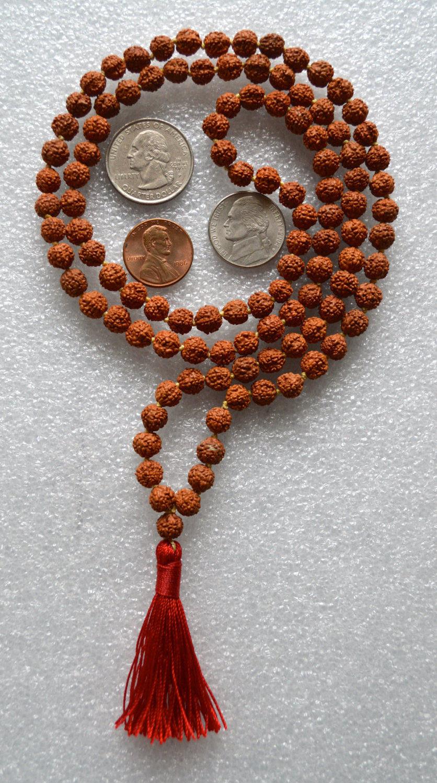 5 Mukhi 108 Rudraksha Beads Small Shiva Tears Necklace -7028
