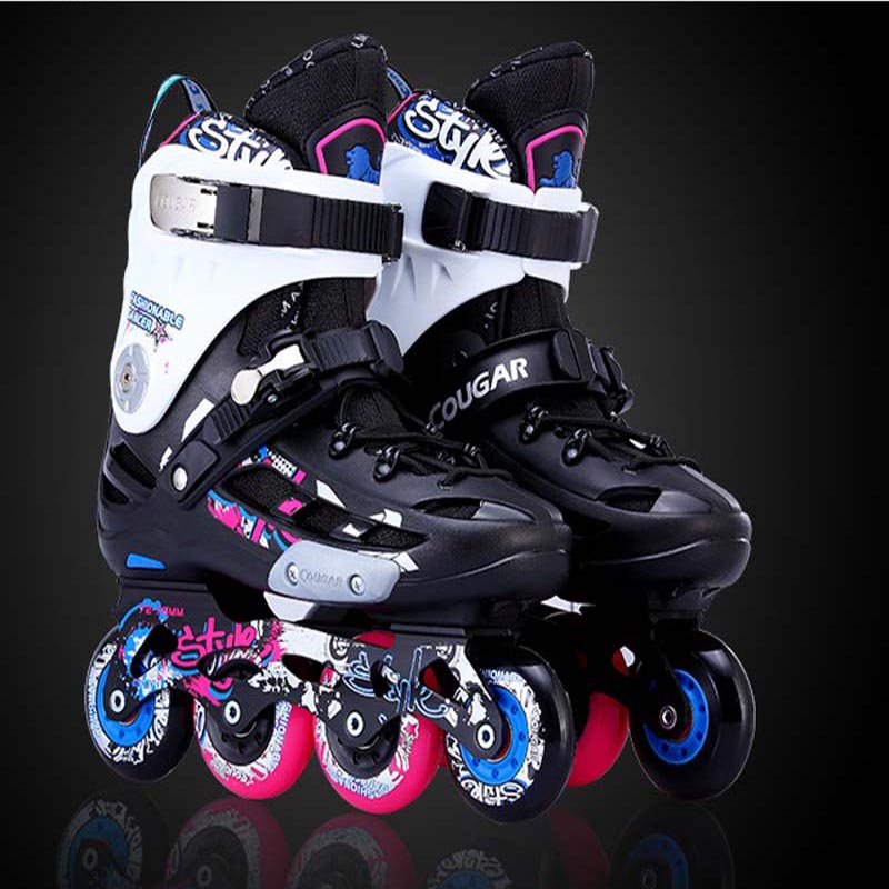 Slalom Inline Skates Roller Skating Shoes Men Women Slalom Sliding Free Skating Shoes Patines Adulto Original Cougar MZS509 IA20 adults men women s roller skates black white inline skating shoes roller patins eu size 36 43