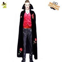 Los hombres adultos es Deluxe fantasma de vampiro Sexy traje Horror gótico  Cosplay rosa roja vampiro traje con Cabo Negro Purim . 05194e81d819