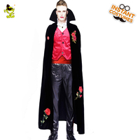 Adult Men's Deluxe Ghost Vampire Sexy Costume Horror Gothic Cosplay Red Rose Vampire Outfit with Black Cape Purim Party