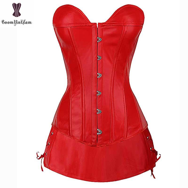 Red Faux Leather Corset Dress Suit Overbust Busiter Suit Plus Size Sexy Corselet Black Party Club Wear Fish Boned Gothic Korset 10