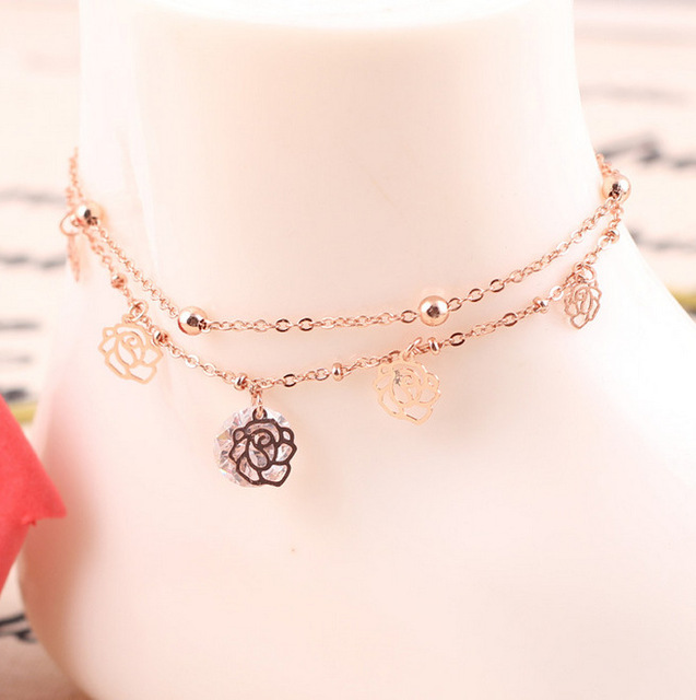 Fashion Rose Gold Color Bohemian Hollow Rose Flower Chain Anklet