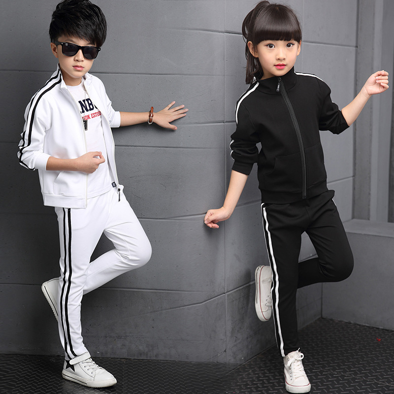 Boy girl Striped 2pcs / set Kids Autumn Cotton School Tracksuit Uniform Sport Suit children Clothing Sets 4 6 8 10 12 14 year