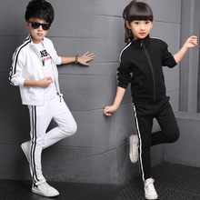 Boy girl Striped 2pcs set Kids Autumn Cotton School Tracksuit Uniform Sport Suit children Clothing Sets