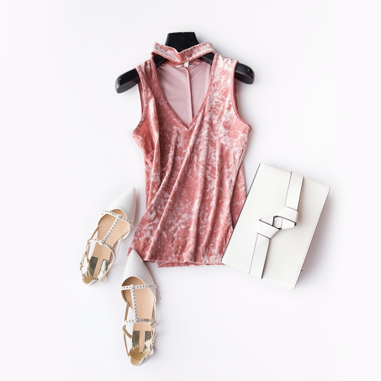 84bbda33963 Woman Sexy Chocker Velvet Deep V Tank Top Velour Slit Fit Summer Vest  Sleeveless Shirt