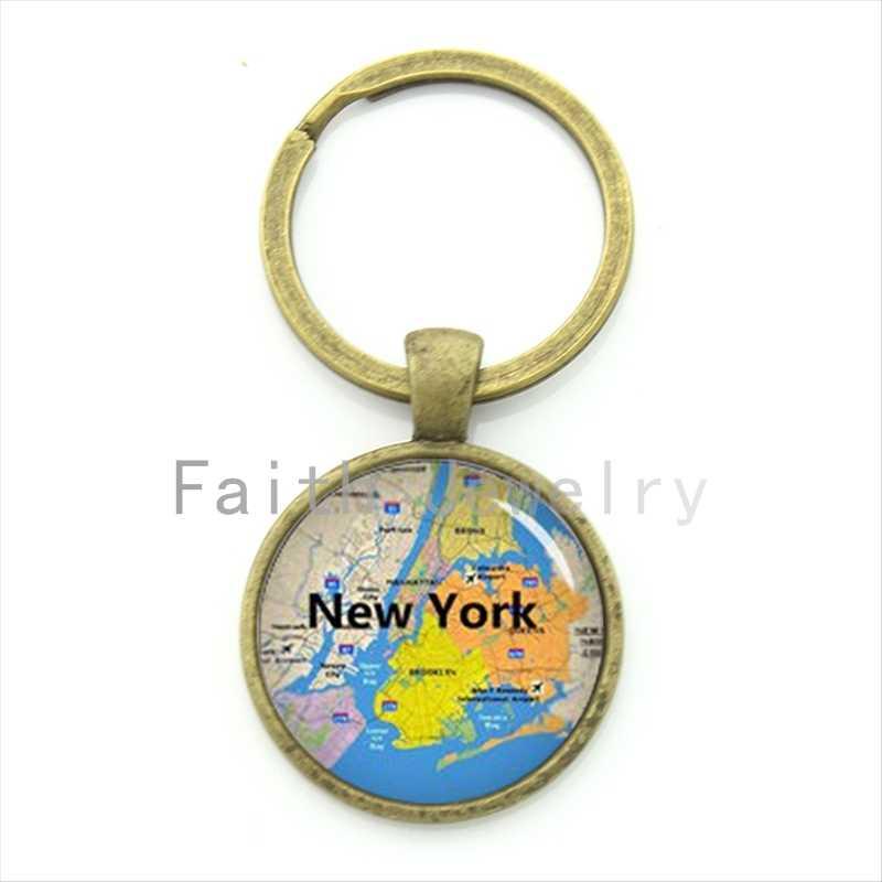 TAFREE moda Nueva York Mapa de la ciudad llavero encantador color brillante NYC mapa llavero joyería regalo especial en su corazón KC467