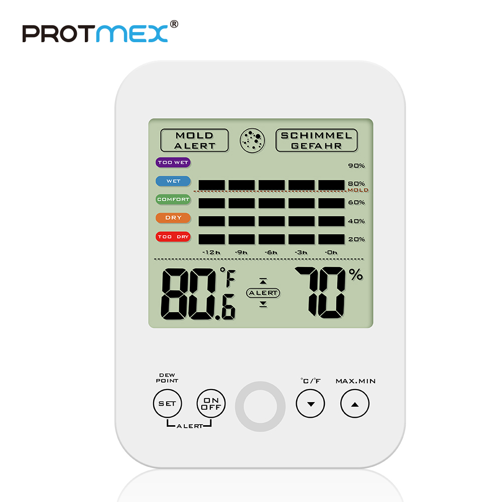 PROTMEX Digital Hygrometer, Accuracy Thermo-Hygrometer Indoor Temperature and Humidity Dew Point Temperature And MoldY Alert temperature and humidity sensor protective shell sht10 protective sleeve sht20 flue cured tobacco high humidity