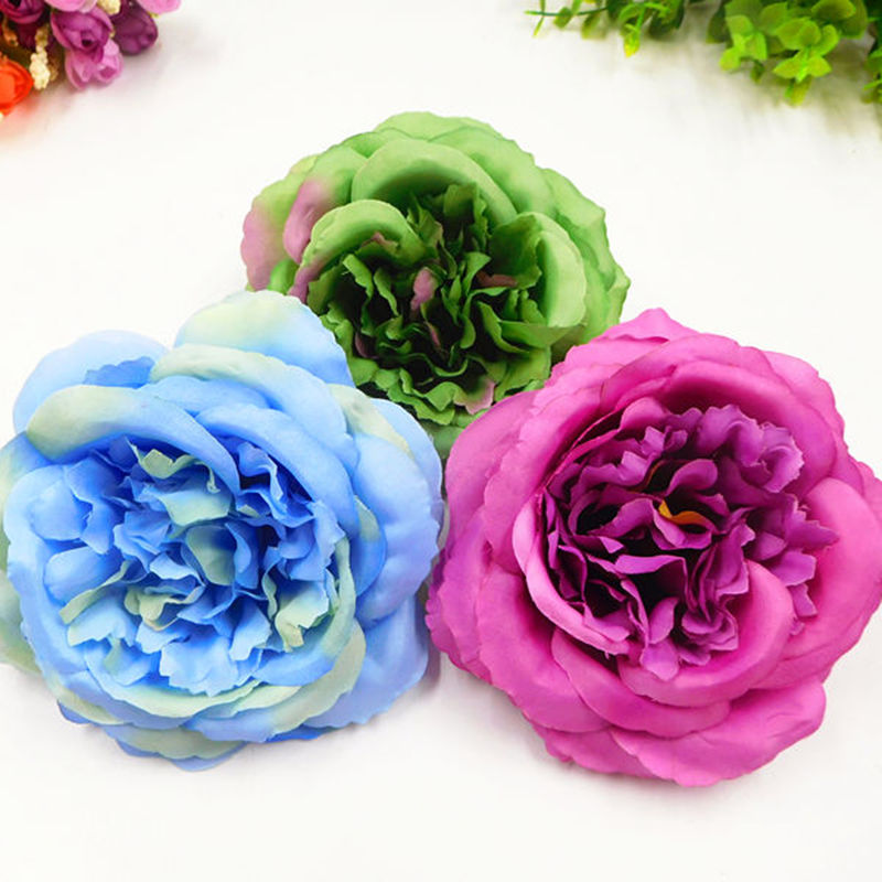 5 PCS 12 cm a simulation of artificial silk flowers flower heads home garden decoration DIY wedding wreath box background in Artificial Dried Flowers from Home Garden