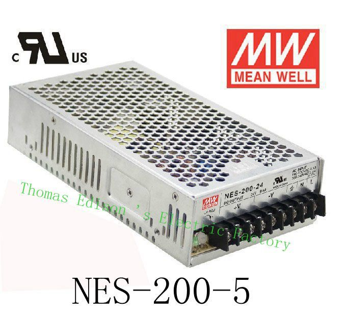 Original MEAN WELL power suply unit ac to dc power supply NES-200-5 200W 5V 40A MEANWELL meanwell 24v 50w ul certificated nes series switching power supply 85 264v ac to 24v dc