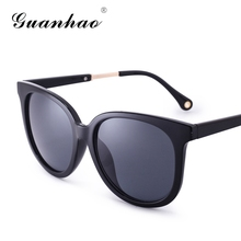 GUANHAO 2017 Women Fashion Sunglasses Cat Eye designer UV Protection&HD View Fashion Frame Coating Reflective Mirror Decoration