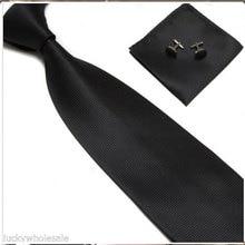 Men Woven Silk Hand Made Tie Cufflinks and Handkerchief Gift Set Hanky Necktie XY1051