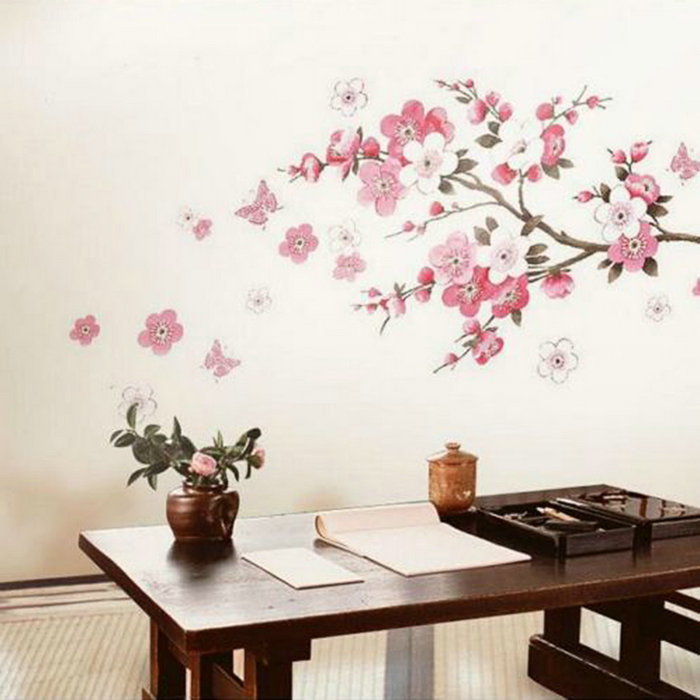 Sakura Flower Removable Stickers Transparent Poster Wallpaper Wall