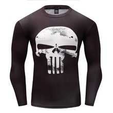 AAA Hot 2017 Punisher Flash Superman/Batman Men Long Sleeve Bodybuilding T Shirt G ym Compression Tights Tops Fitness T-shirt