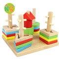 Colorful 4 conjuntos de Geometria coluna removível jogo Montessori Brinquedo De Madeira Blocos de Construção de Brinquedos Infantis de Madeira Requintado Presente da Criança