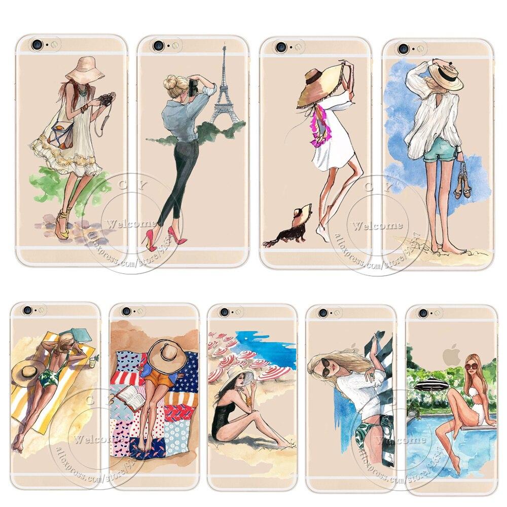 Travel fashion girl patrón cajas del teléfono para apple iphone 5 5S SE 6 6 S 7