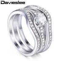 Davieslee Wedding Band Ring Set For Women Paved Round Cubic Zirconia CZ White Gold Filled Fashion