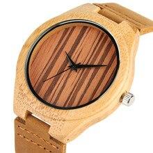 Creative Men Wrist Watch Bamboo Wooden Watches Genuine Leath