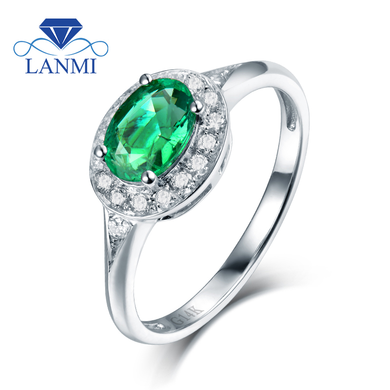 Fine Jewelry Oval Real 14K White Gold Colombia Emerald Diamond Engagement Ring for Wife Fine Jewelry Birthday Gift Wholesale