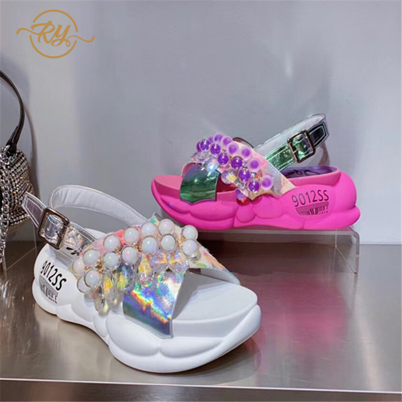 RY RELAA women sandals summer 2018 hing heel Genuine Leather wedge sandals Europe station ins luxury shoes women designers
